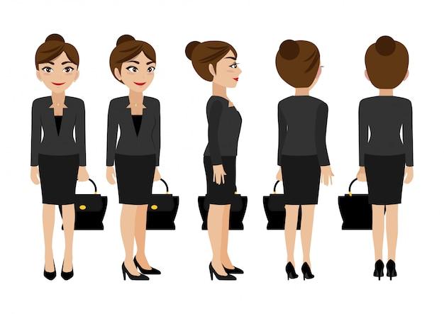 Postać z kreskówki z kobietą biznesu.