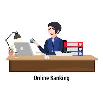 Postać z kreskówki z kobietą płaci rachunek online na laptopie. urzędnik bankowy przy stole wystawiający kartę kredytową oraz stos banknotów i papierów. płaskie ikona ilustracja