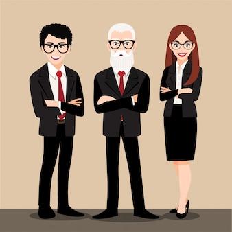 Postać z kreskówki z ludźmi biznesu konsultuje stać w mądrze kostiumu. płaska ikona