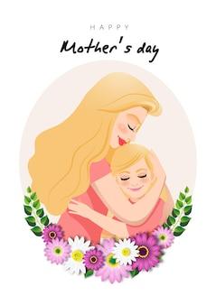 Postać Z Kreskówki Z Mamą I Córką Objąć W Wieniec Kwiatów. Illusrtation Na Dzień Matki Premium Wektorów