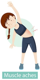 Postać z kreskówki z objawami bólu mięśni
