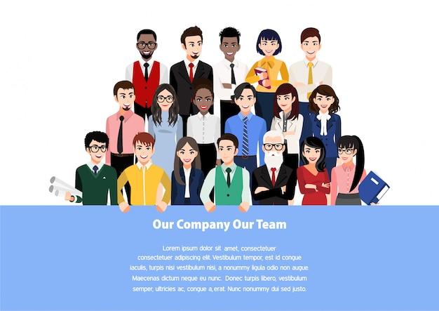 Postać z kreskówki z pracy zespołowej pojęciem lub setem grupowi ludzie biznesu i członkowie firmy stoi za miejscem dla twój teksta