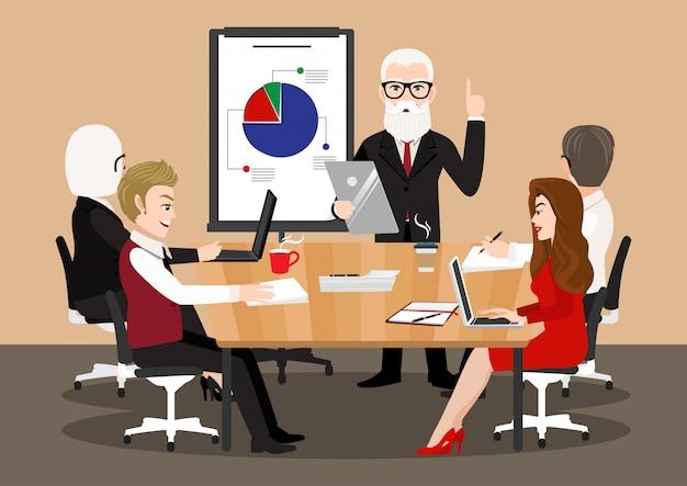 Postać z kreskówki z spotkanie biznesowe. płascy ludzie na konferencji prezentacyjnej. bizneswoman przy projekt strategią infographic. koncepcja seminarium zespołowego