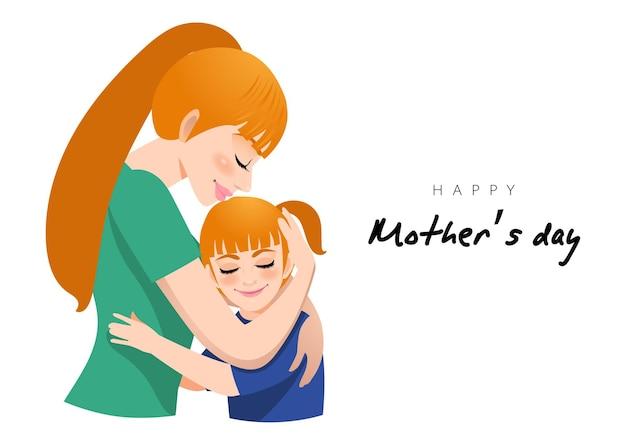 Postać z kreskówki z uściskiem mamy i córki. illusrtation na dzień matki