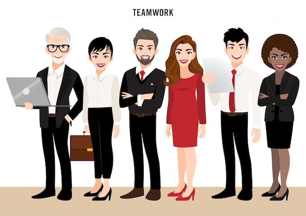 Postać z kreskówki z zespołem firmy lub ludzi koncepcji przywództwa. ilustracja w stylu kreskówki.