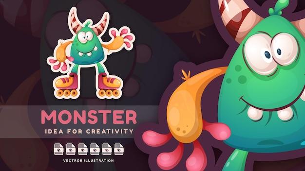 Postać z kreskówki zabawna halloweenowa potwór urocza naklejka