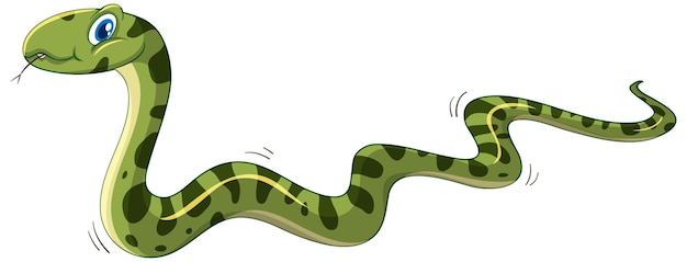 Postać z kreskówki zielony wąż na białym tle
