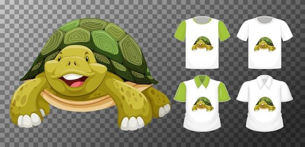 Postać z kreskówki żółwia z wieloma rodzajami koszul na przezroczystym tle