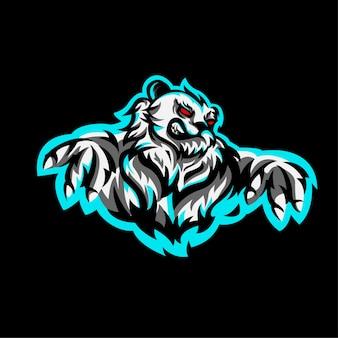 Postać z logo panda w stylu e-sportowym