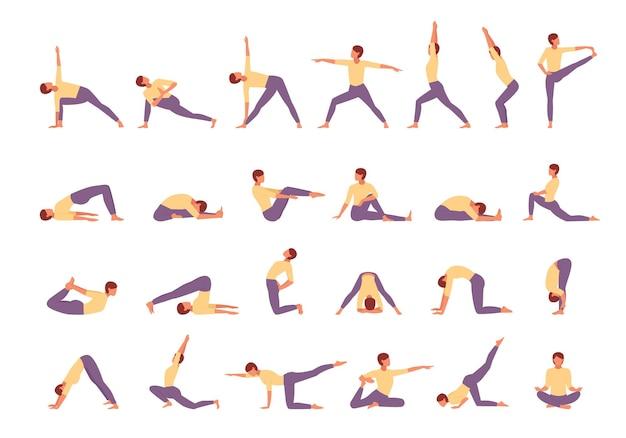 Postać zaangażowana w jogę fitness duży zestaw ilustracji