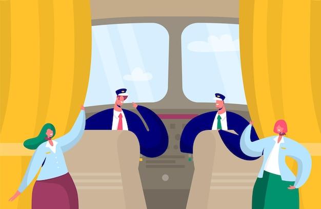 Postać załogi samolotu wewnątrz kabiny. pilot i stewardessa we wnętrzu kokpitu kapitana samolotu.