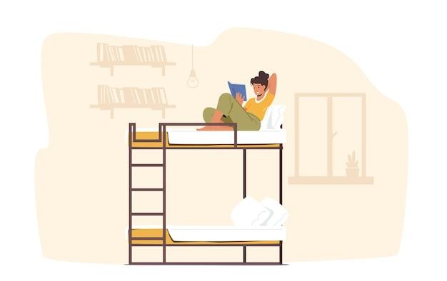 Postać żeńska siedząca z książką na łóżku piętrowym w pokoju wieloosobowym