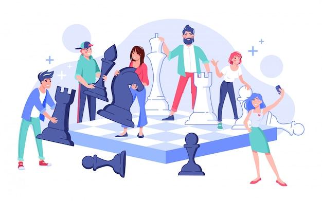 Postać zespołu młodych ludzi, ruszająca się figura szachowa, zaangażowana w bitwę na szachownicy, podejmująca strategiczne decyzje dotyczące zarządzania, biorąc selfie. koncepcja strategii biznesowej, pracy zespołowej lub konkurencji