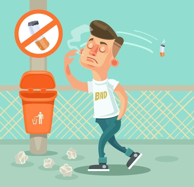 Postać złego chłopca wyrzuca śmieci. ilustracja kreskówka płaska