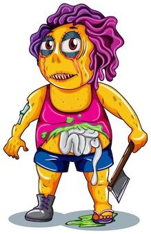 Postać zombie na białym tle