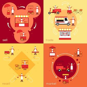Postaci fast foodów ulicznych i zestaw elementów składowych z odsprzedaż sprzedawać ilustracji wektorowych na białym tle handlu rynkowego