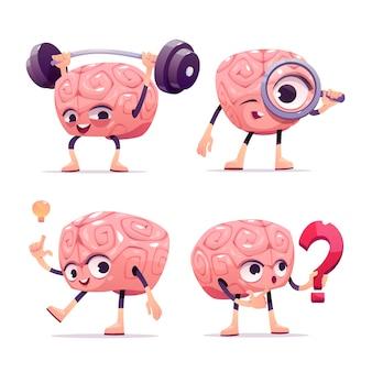 Postaci mózgu, maskotka kreskówka z zabawną miną
