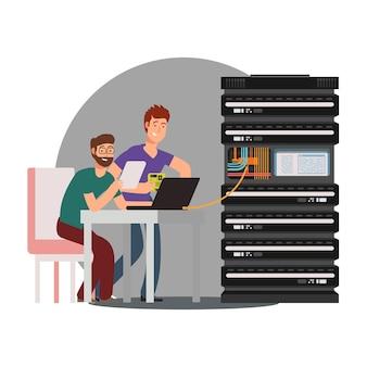 Postaci z kreskówek inżynierowie komputerowi pracujący z klastrem serwerów. ilustracji wektorowych