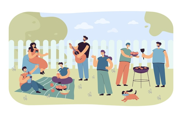 Postaci z kreskówek korzystających z grilla. płaska ilustracja