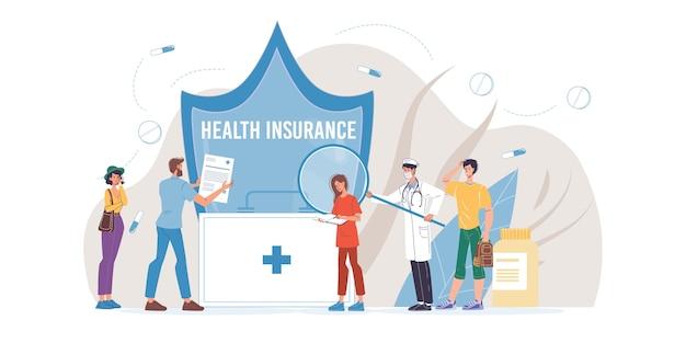 Postaci z kreskówek lekarza w mundury, fartuchy laboratoryjne i symbole - koncepcja ubezpieczenia medycznego, leczenia i terapii