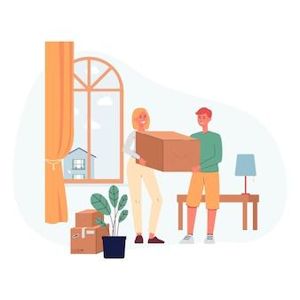 Postaci z kreskówek ludzi przeprowadzających się do nowego domu z rzeczami na białym tle. młoda para z kartonami na tle wnętrza.