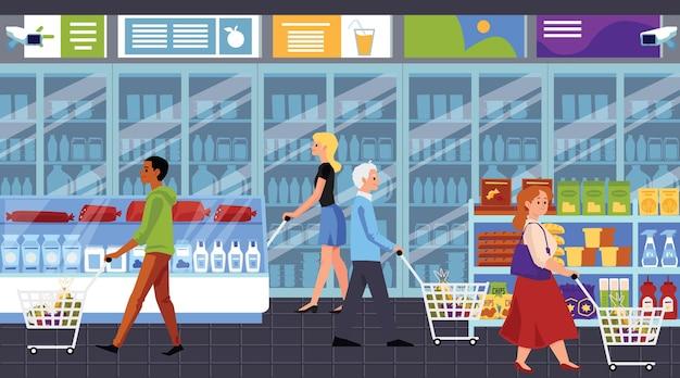 Postaci z kreskówek ludzi, zakupy w supermarkecie, ilustracja w stylu płaski