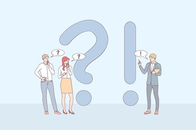 Postaci z kreskówek młodych biznesmenów stojących w pobliżu wykrzykników i znaków zapytania, zadających pytania i otrzymujących odpowiedzi online