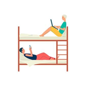 Postaci z kreskówek młodych ludzi w wygodnym łóżku piętrowym w hostelu, płaska ilustracja na białym tle