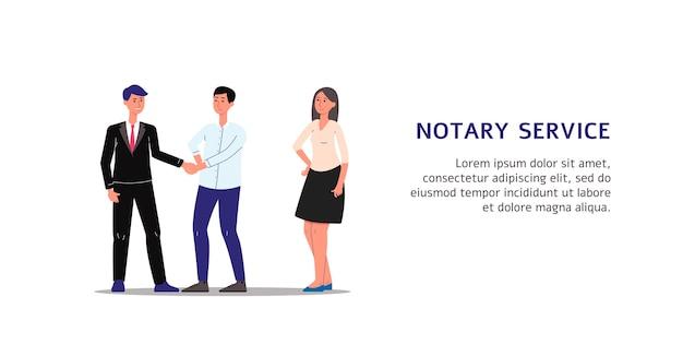 Postaci z kreskówek osób wykonujących dokumenty w służbie notarialnej, ilustracja na białym tle. szablon transparentu pomocy notarialnej.