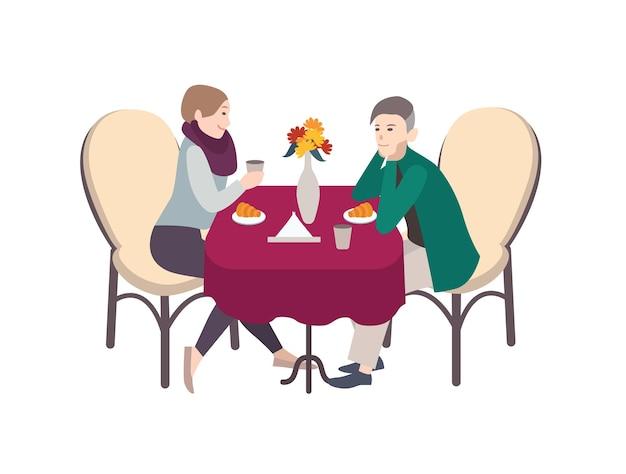 Postaci z kreskówek płci męskiej i żeńskiej, ubrani w zwykłe ubrania, siedząc przy stole, pijąc kawę i jedząc rogaliki. romantyczne śniadanie w kawiarni, poranna data. ilustracja kolorowy płaski wektor.