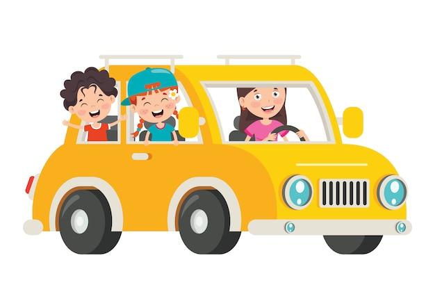 Postaci z kreskówek podróżujących pojazdem