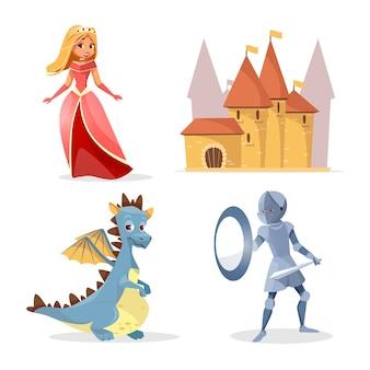 Postaci z kreskówek średniowiecznej bajki, zestaw zamek stwory.