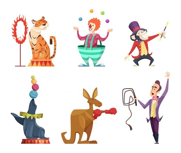 Postaci z kreskówek z cyrku. wektorowe maskotki izolują
