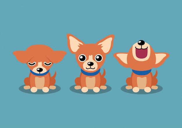 Postaci z kreskówki brązowy pies chihuahua pozuje