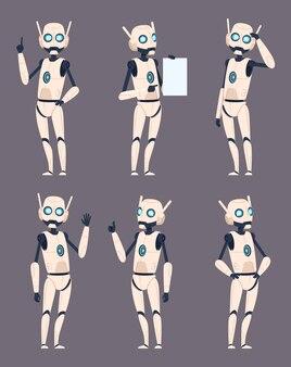 Postacie androida. cyborg w różnych pozach stojący, wskazując futurystyczny zestaw humanoidalnego kosmonauty. ilustracja robota i cyborga, postać robota maszyny