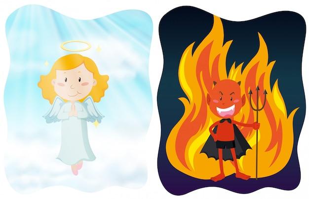Postacie aniołów i diabłów