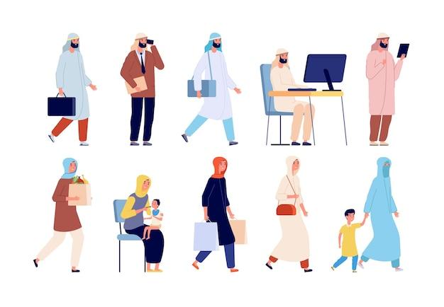 Postacie arabskie. saudyjscy ludzie biznesu, grupa muzułmańska kobieta mężczyzna. osoba islamu na białym tle nosi ilustracji wektorowych tradycyjne arabskie ubrania. rodzinny arabski charakter, ojciec biznesu i dziecko kobiety