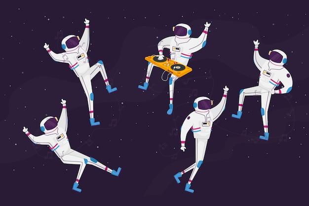 Postacie astronautów tańczące z gramofonem dj-a na otwartej przestrzeni