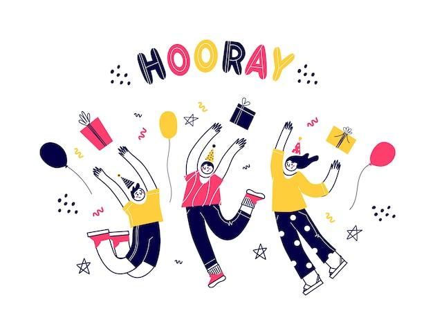 Postacie bawią się dobrze, skacząc. przyjęcie urodzinowe. różni ludzie świętują. płaska ilustracja.