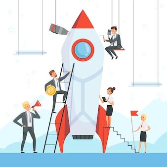 Postacie biznesowe uruchamiają rakietę wahadłową