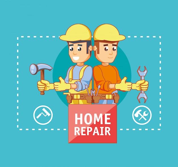 Postacie budowniczych z ikonami naprawy domu