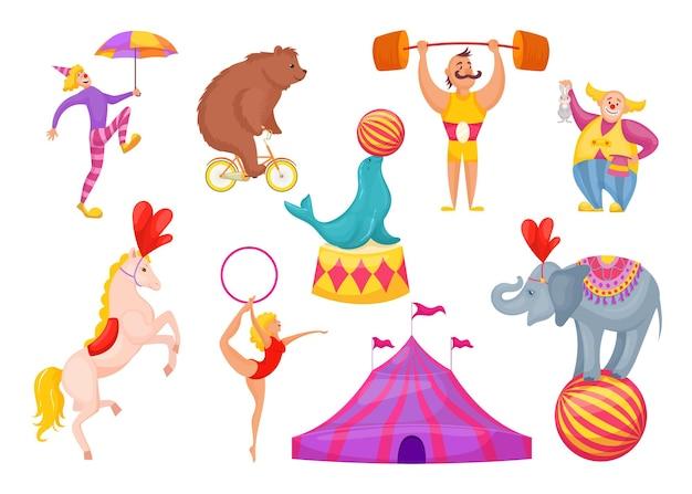 Postacie cyrkowe i ilustracja zwierząt