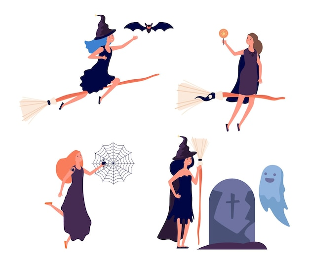 Postacie czarownic. ładna kobieta leci na miotle. ludzie z bajek halloween. dziewczyna z pająkami, magiczna kobieta w kapeluszu wiedźmy przy nawiedzonym grobie