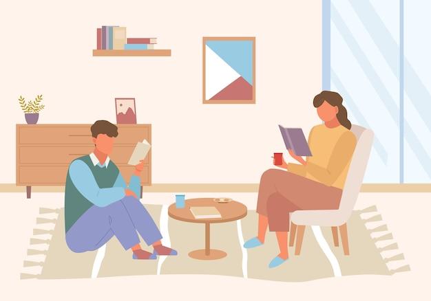 Postacie czytają książki w domu ilustracji. facet siedzący na podłodze fotela z entuzjazmem studiuje niedawno wydany bestseller fantasy, przytulny stolik kawowy w domowej atmosferze.