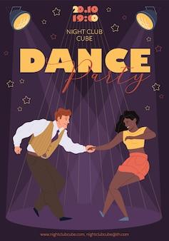 Postacie dance-disco dance party ulotka