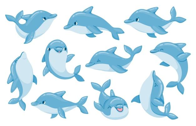Postacie delfinów. śmieszne delfiny skaczą i pływają w pozach. oceanarium pokaż maskotkę podwodnego zwierzęcia. kreskówka butlonos baby delfin wektor zestaw
