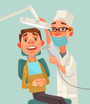 Postacie dentysty i pacjenta.