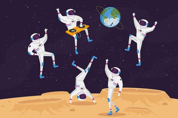 Postacie dj-a i astronautów tańczące z gramofonem w otwartej przestrzeni na obcej planecie lub powierzchni księżyca