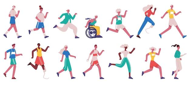Postacie do biegania. bieganie kobiet i mężczyzn, sprinty, bieganie i skakanie mężczyzn i kobiet na białym tle zestaw ilustracji wektorowych. biegacze, sportowcy, postacie