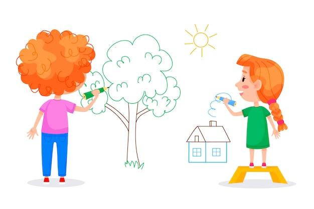 Postacie dzieci rysują na białych ścianach. międzynarodowy dzień dziecka. letnie zajęcia dla dzieci. ilustracje wektorowe.